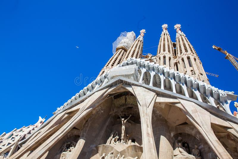 Passion Facade of the Basilica and Expiatory Church of the Holy Family. In Barcelona royalty free stock photo
