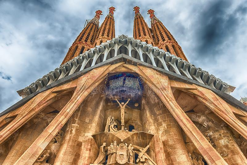 Passion Facade of the Sagrada Familia, Barcelona, Catalonia, Spa. BARCELONA - AUGUST 9: The Passion Facade of the Sagrada Familia, the most iconic landmark royalty free stock photos