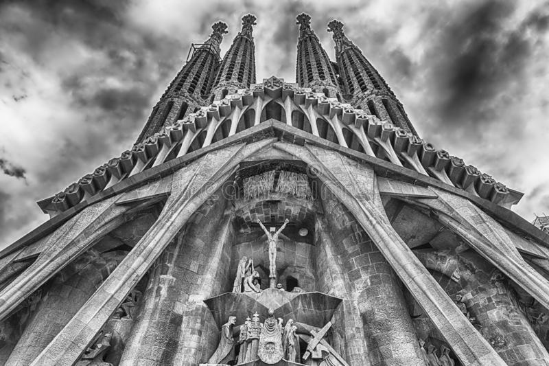 Passion Facade of the Sagrada Familia, Barcelona, Catalonia, Spa. BARCELONA - AUGUST 9: The Passion Facade of the Sagrada Familia, the most iconic landmark royalty free stock images