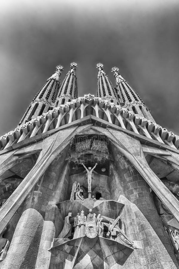 Passion Facade of the Sagrada Familia, Barcelona, Catalonia, Spa. BARCELONA - AUGUST 9: The Passion Facade of the Sagrada Familia, the most iconic landmark stock images