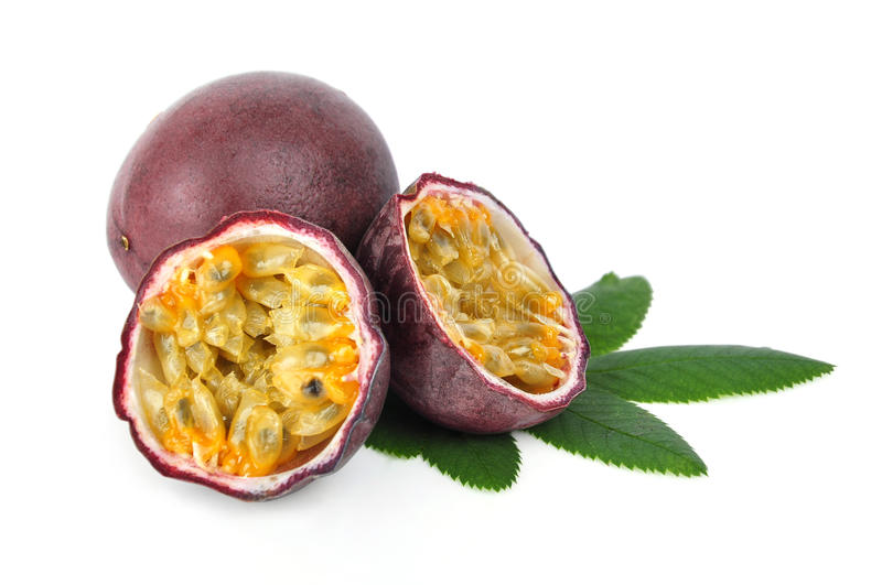 Passion fruit. Isolated on a white background stock photo