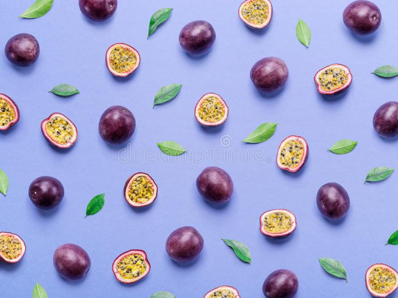Passion fruit background. Set of passion fruits. Top view.  stock photo