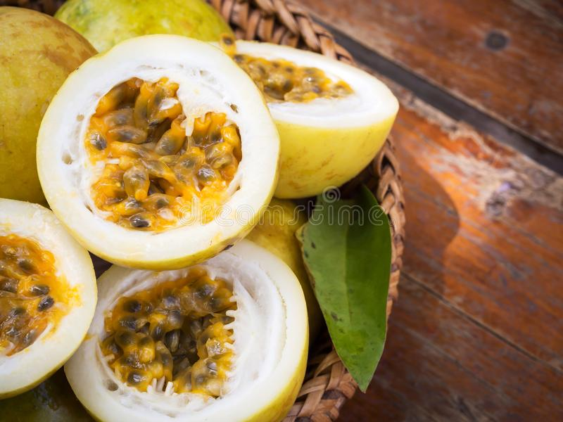 Passion fruit in bamboo basket. Tropical fruit. Sour taste, higt stock images