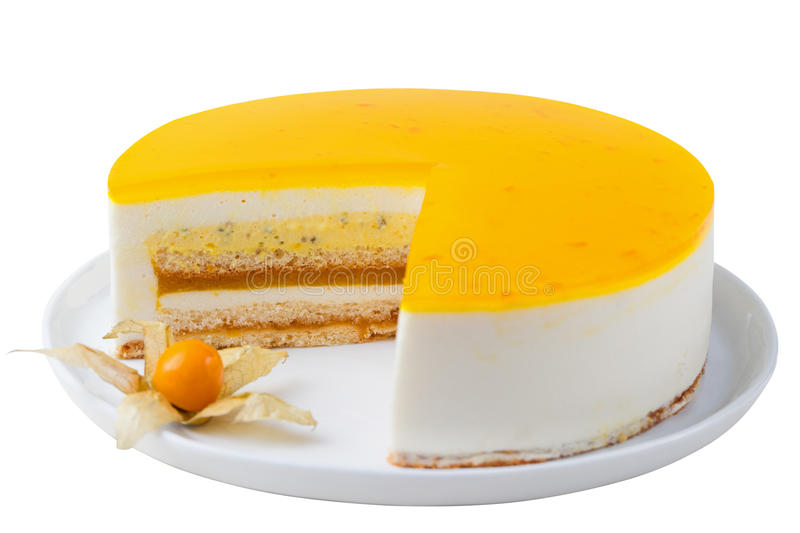 Passion fruit cake, mousse dessert Isolated white. Passion fruit cake, mousse dessert with tropical flavor on a plate. Isolated on white stock photo