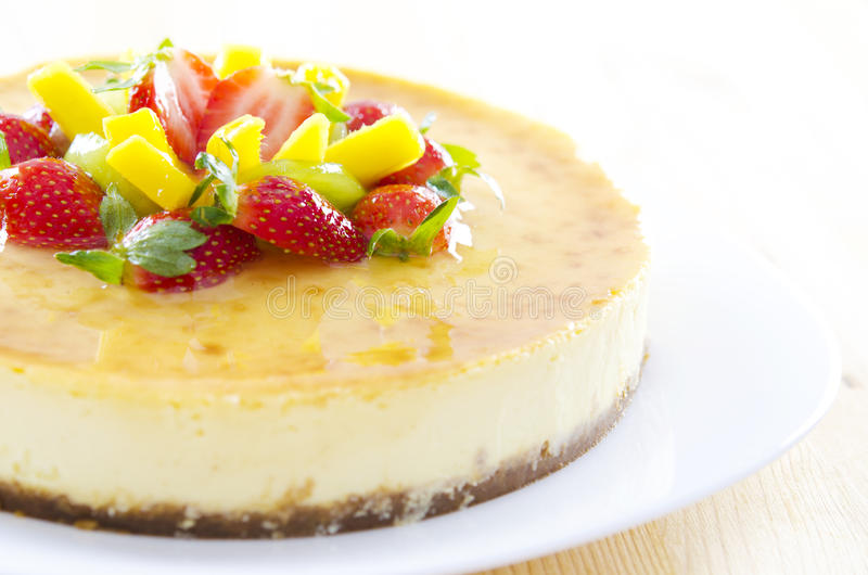 Passion fruit cheese cake stock photography