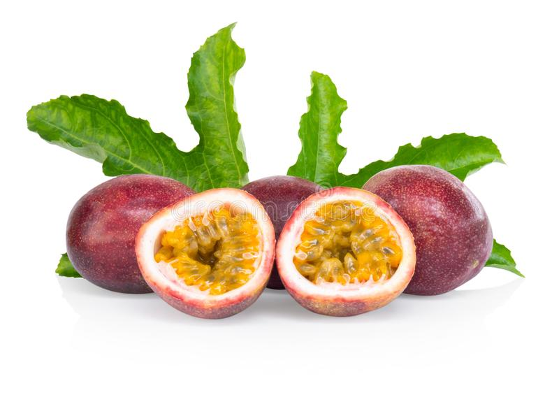Passion fruit with green leaf isolated on white background, fruit for healthy concept royalty free stock image