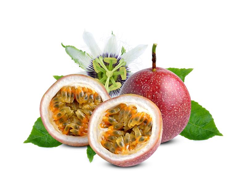 Passion fruit with green leaf isolated on white background royalty free stock photography
