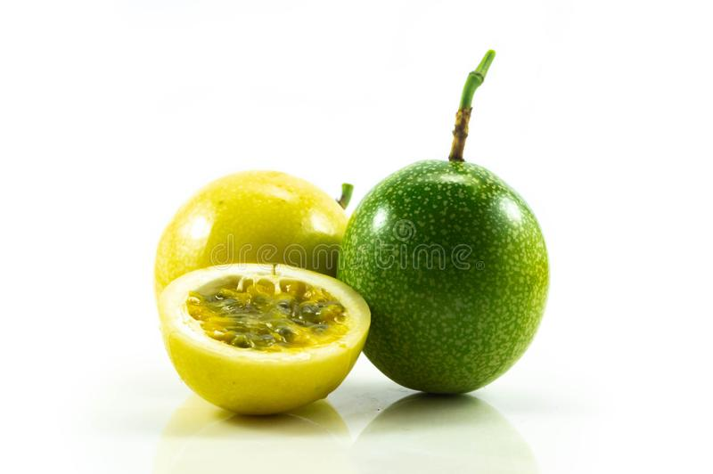 Passion fruit green and yellow isolated on white background stock photography