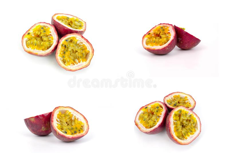 Passion fruit. A group passion fruit images, isolated on white background stock image