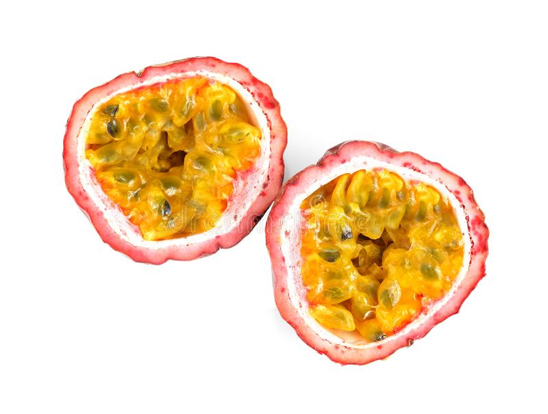 Passion fruit. Half isolated on white background royalty free stock image
