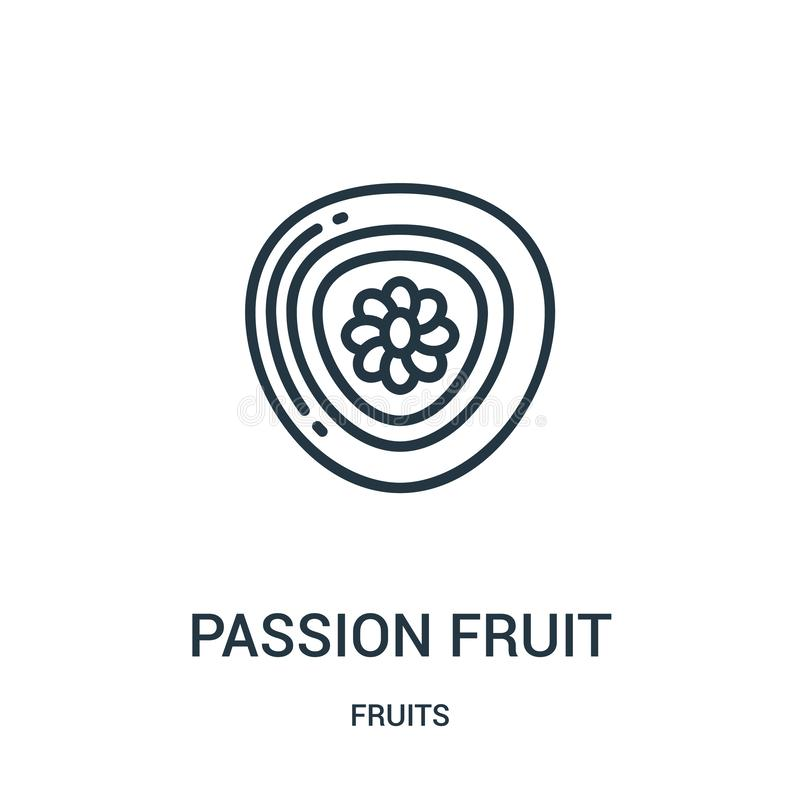 passion fruit icon vector from fruits collection. Thin line passion fruit outline icon vector illustration. Linear symbol for use stock illustration