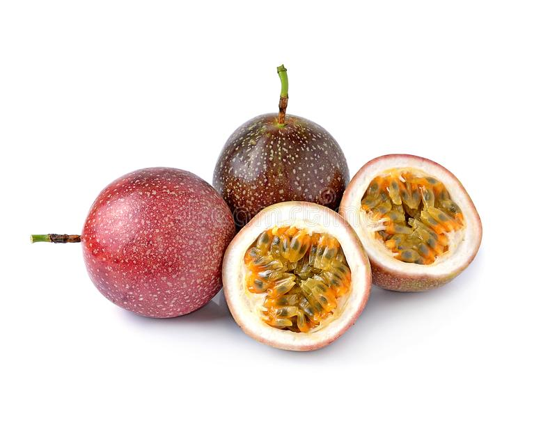 Passion fruit isolated on white background stock images
