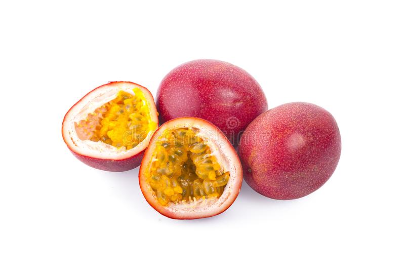 Passion fruit isolated on a white background stock photo