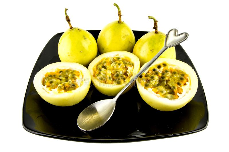 Passion fruit isolated on a white background that can be easily used to make illustrations or designs.  stock photo