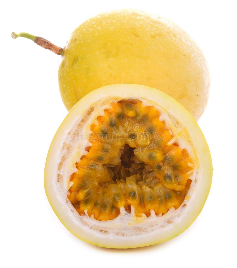 Passion fruit isolated on white background royalty free stock photo