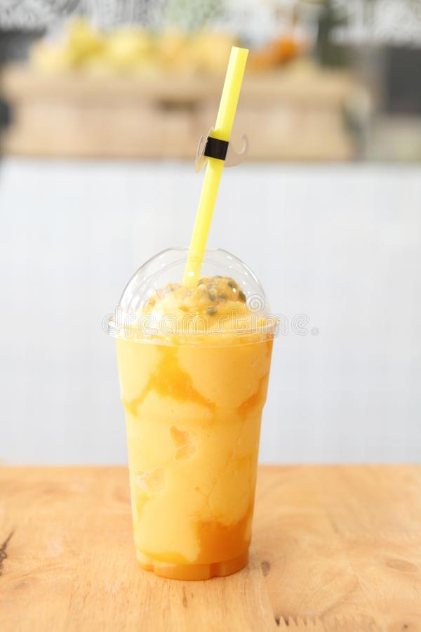 Passion fruit juice drink. Passion fruit juice on the table stock photo