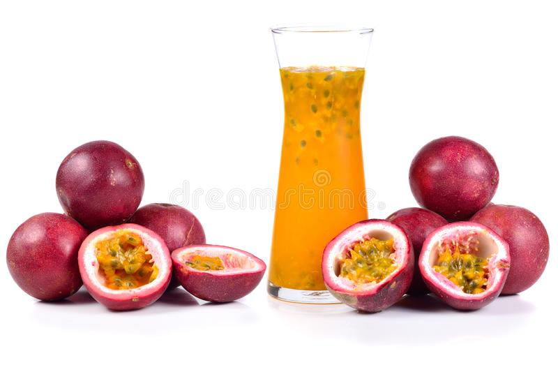 Passion Fruit Juice isolated on white background.  stock photography