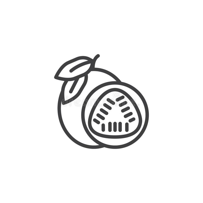 Passion fruit line icon. Linear style sign for mobile concept and web design. Whole and sliced passion fruit outline vector icon. Symbol, logo illustration stock illustration