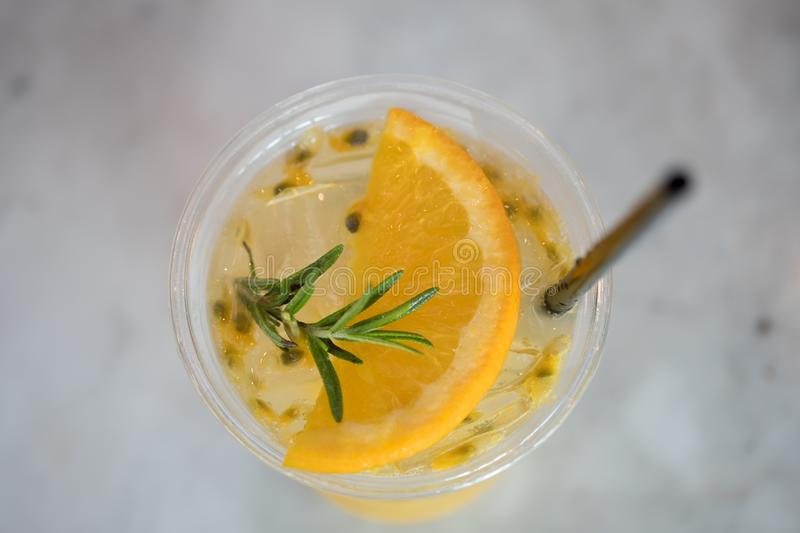 Passion fruit mix orange juice, top view stock photography