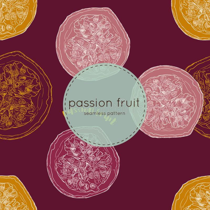 Passion fruit vector illustration, hand draw seamless pattern. Passion fruit vector illustration, hand draw sketch seamless pattern vector. tropical fruit royalty free illustration