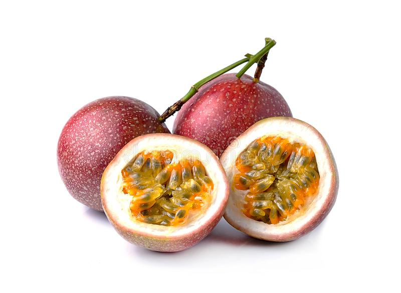 Passion fruit on white background stock photography