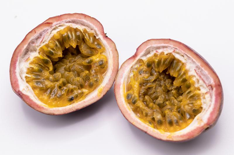 Passion fruits isolate on white background.Passion fruit is a flowering tropical vine. stock image