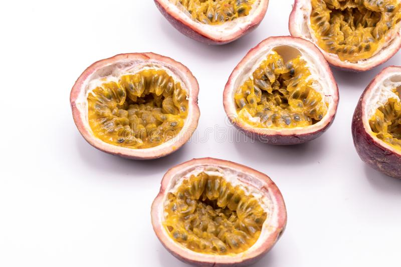 Passion fruits isolate on white background.Passion fruit is a flowering tropical vine. stock photo