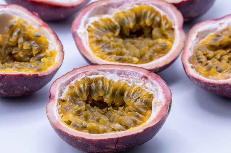 Passion fruits isolate on white background.Passion fruit is a flowering tropical vine. royalty free stock photo