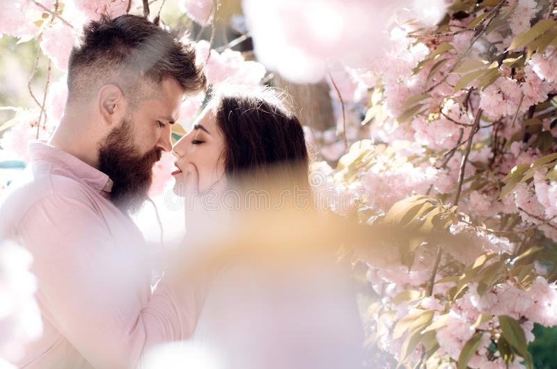 Passion and love concept. Man and woman kissing in blooming garden on spring day. Couple in love spend time in spring royalty free stock image
