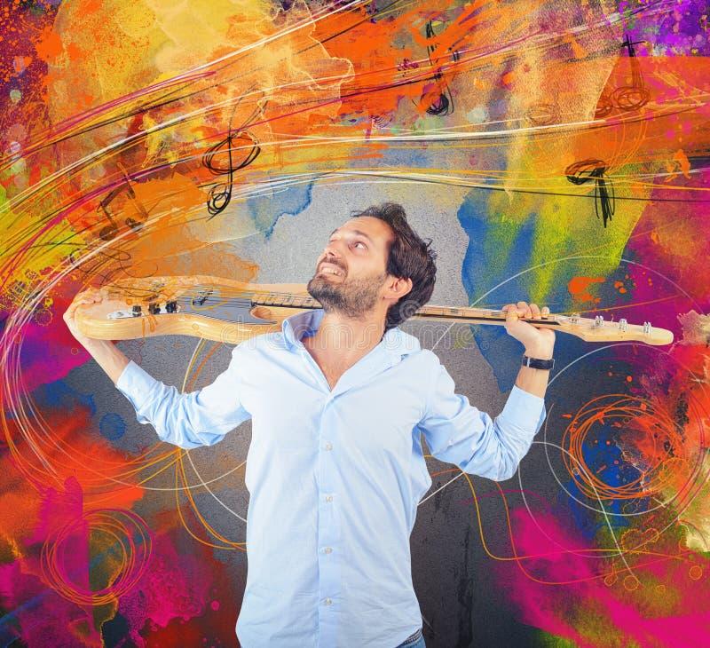 Passion pour la guitare photo libre de droits