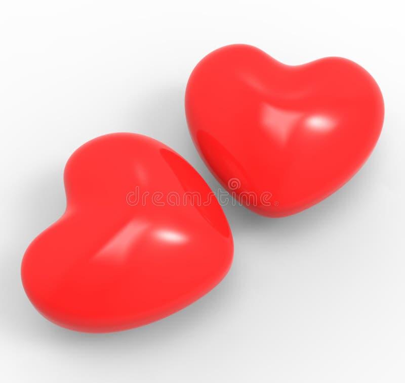 Passion tridimensionnelle d'affection de moyens de coeurs illustration de vecteur