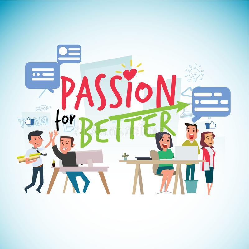 Passion for work typographic with office people - vector illustration stock illustration