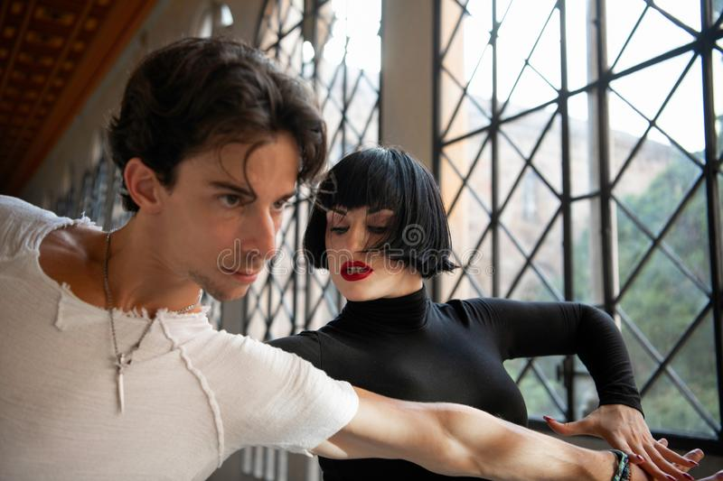 Passionate Ballroom Dancers In Motion Of Performance stock photography