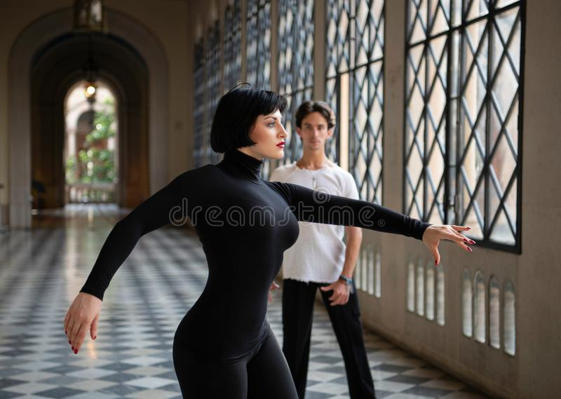 Passionate Ballroom Dancers In Motion Of Performance royalty free stock photos