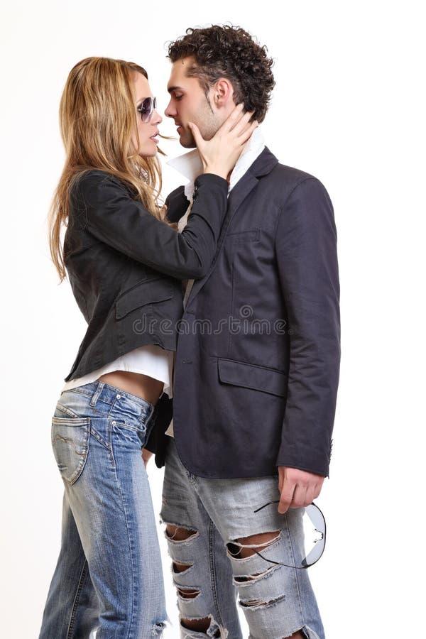 Passionate couple flirting royalty free stock photos