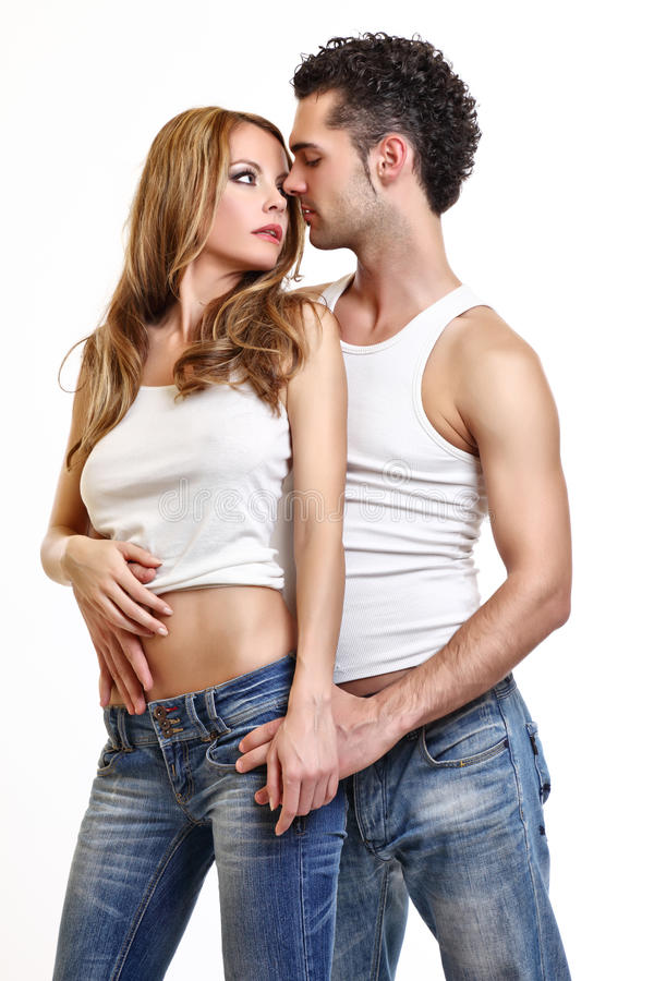 Passionate couple before a kiss royalty free stock photos