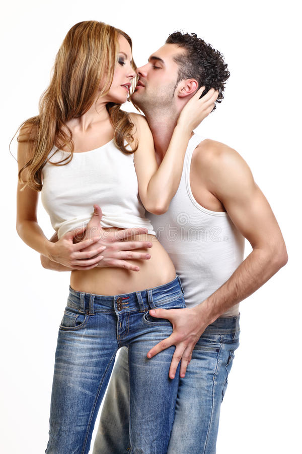 Passionate couple love each other stock photography