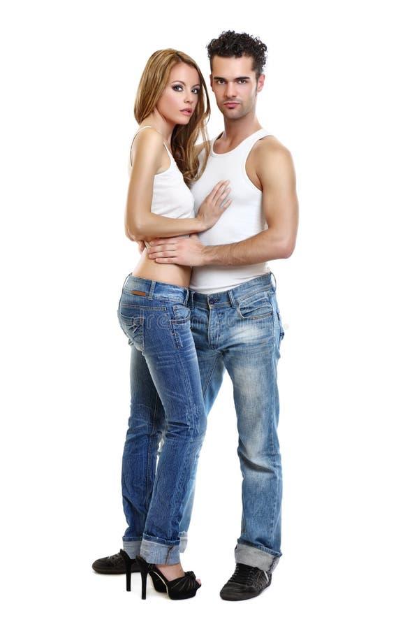 Passionate couple on white background stock image
