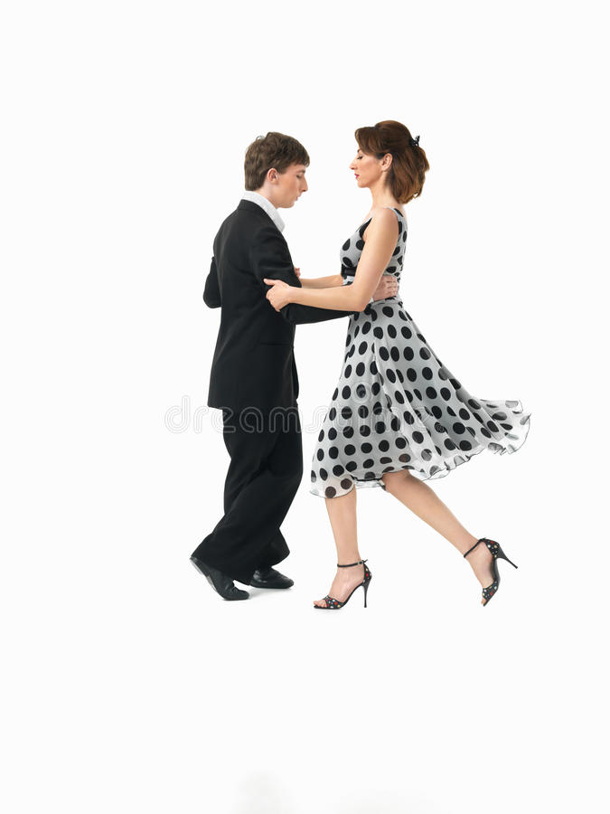 Passionate dancing couple on white background royalty free stock photography