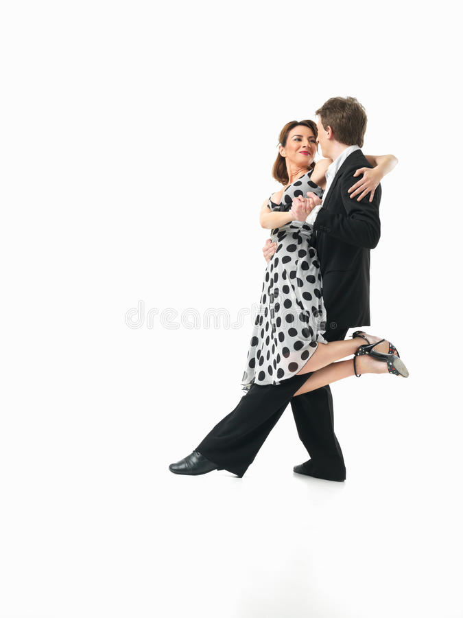 Passionate dancing couple on white background royalty free stock photos