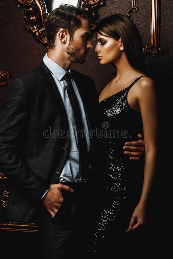 Passionate elegant couple royalty free stock photography