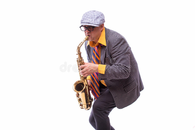 Passionate Expressive Male Alto Saxophone Player. Portrait of Passionate Expressive Male Alto Saxophone Player stock photo