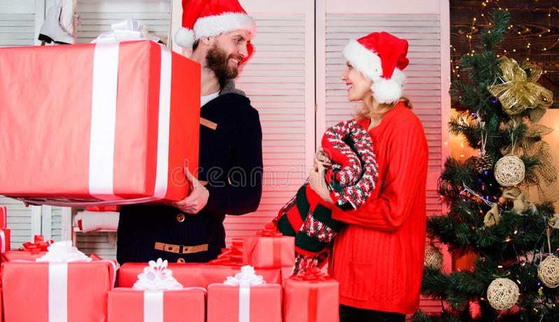 Passionate love. couple in love santa hat. happy new year. family holiday. cozy evening with your beloved. cheerful man stock image