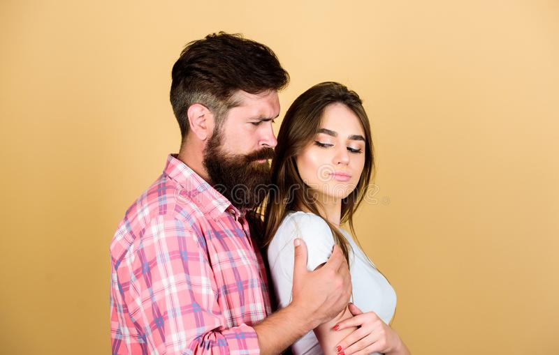 Passionate love. sexy woman and brutal guy with beard. passion couple. couple in love. bearded man hipster with girl. Passionate love. sexy women and brutal guy royalty free stock photos
