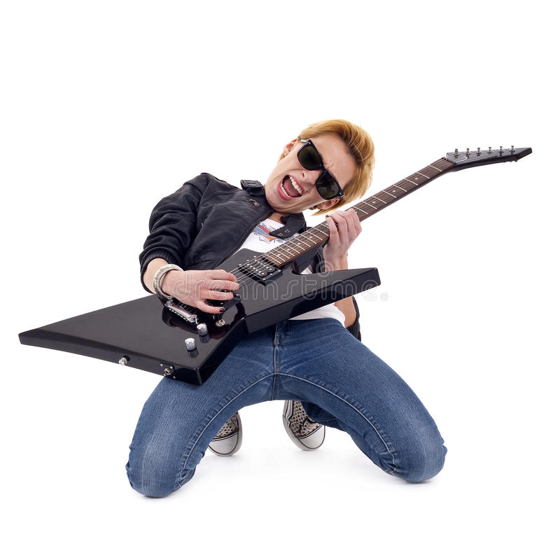 Download Passionate rock girl stock photo. Image of guitar, performer - 14448540