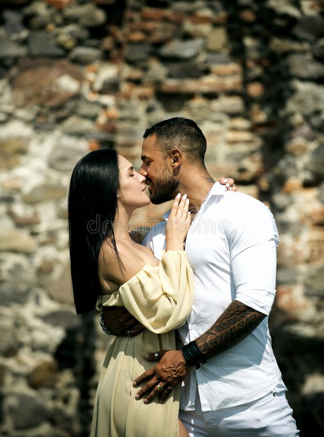 Free Passionate Sensual Man And Woman Enjoying Exciting Moment Of First Kiss. Love Story. Expressing Kissing And Endearment Stock Photos - 170774863
