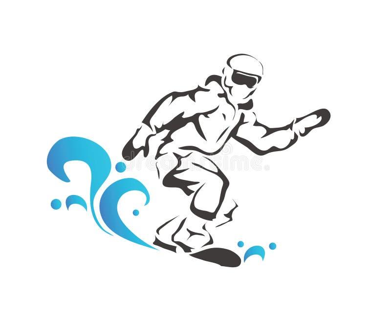 Passionate Winter Sports Professional Snow Boarding Athlete Logo vector illustration