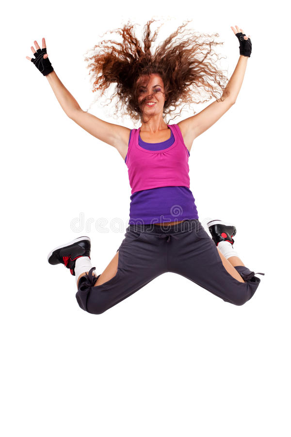 Passionate woman dancer jumping. In the air on white background. yound female dancer with fluttering hair making a leap stock image