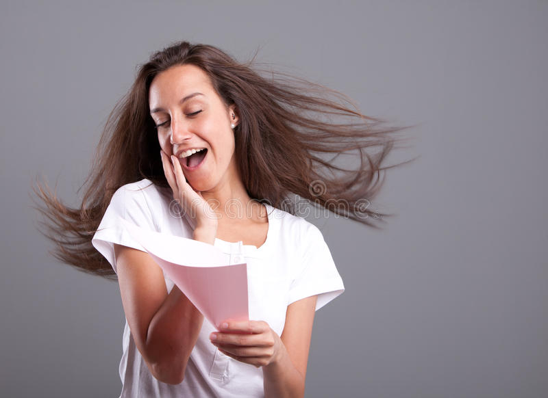 Passionate woman reading love letter royalty free stock images
