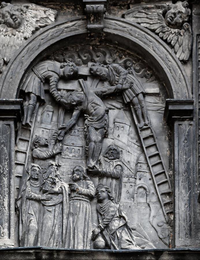 Passione dell'evento di Cristo dal lato occidentale della cappella di Boim a Leopoli, Ucraina fotografia stock